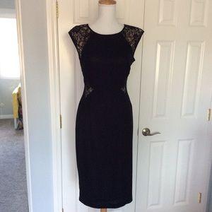 London Times lace paneled black body con dress